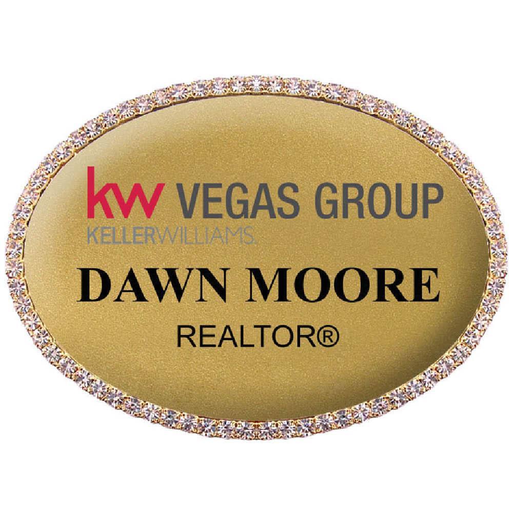 Keller Williams Oval Bling Name Badge Gold Frame- Gold Background