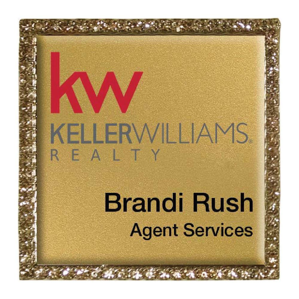 Keller Williams Square Bling Name Badge Gold Frame- Gold Background