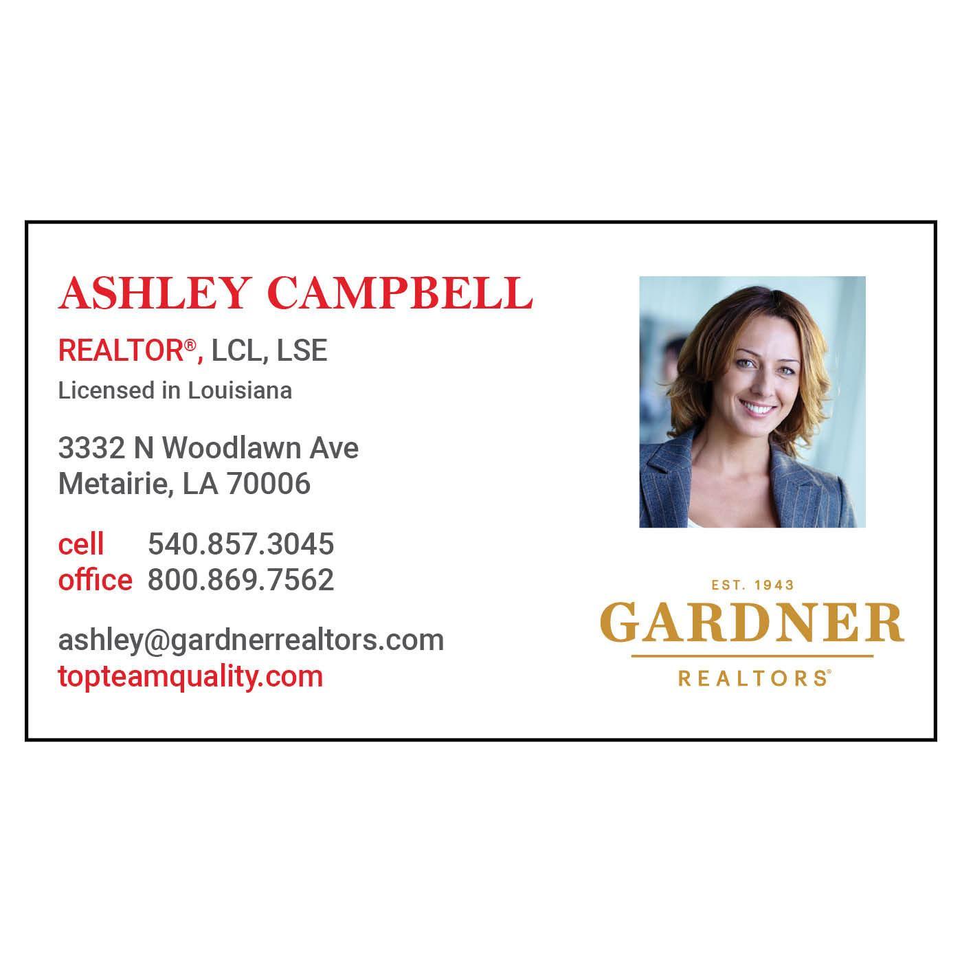 Gardner Realtors business card