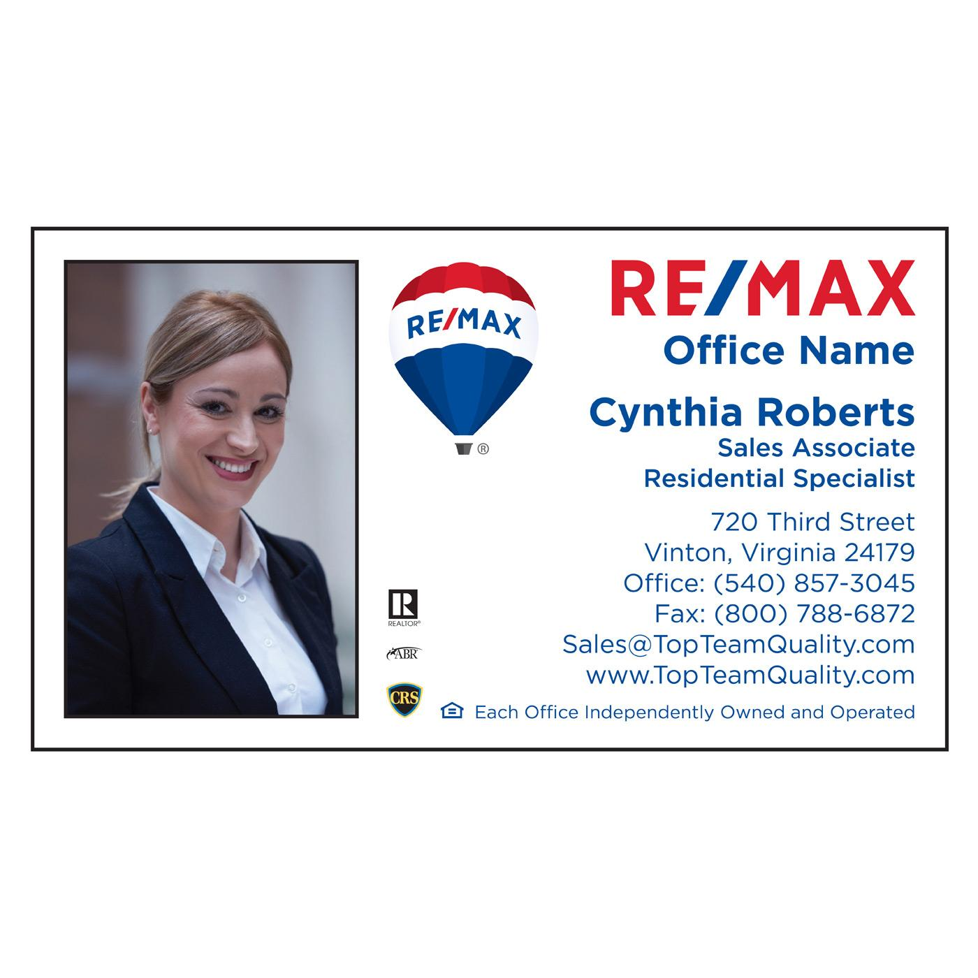 double-sided RE/MAX business card