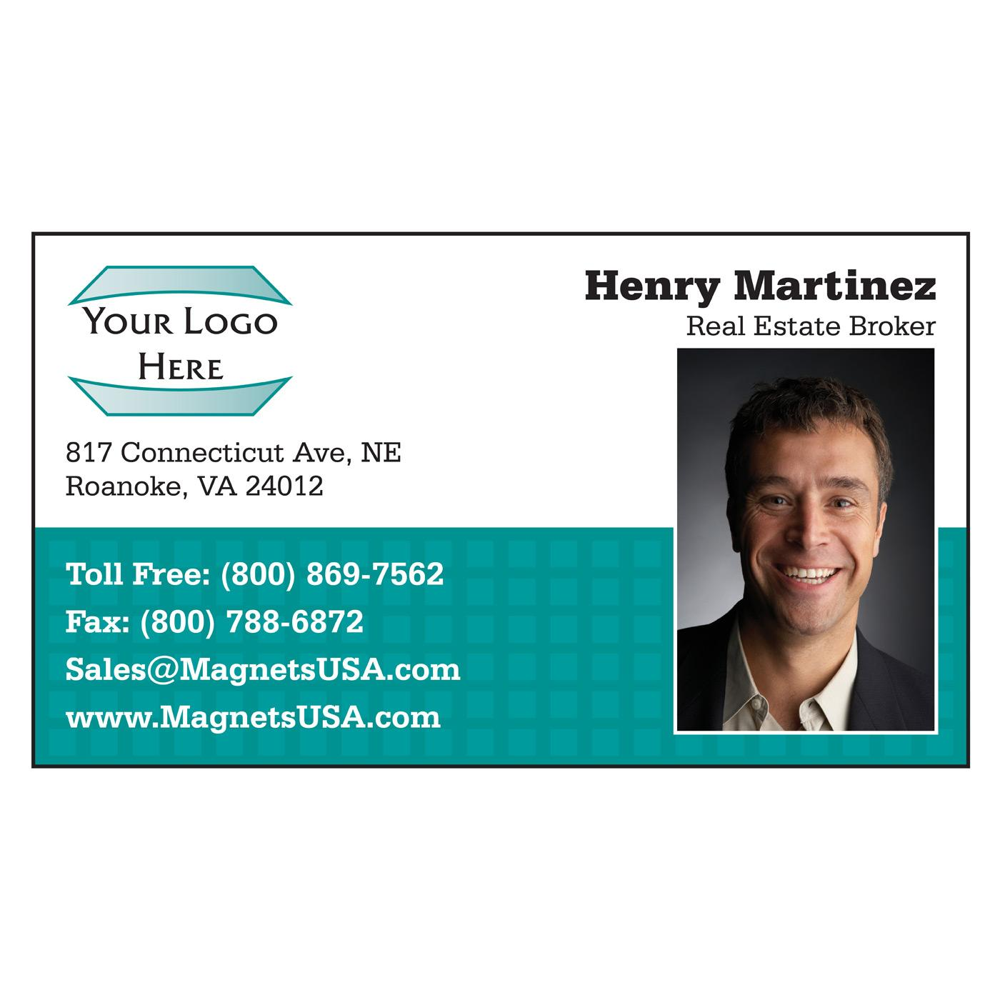 Teal Squares Standard Business Card