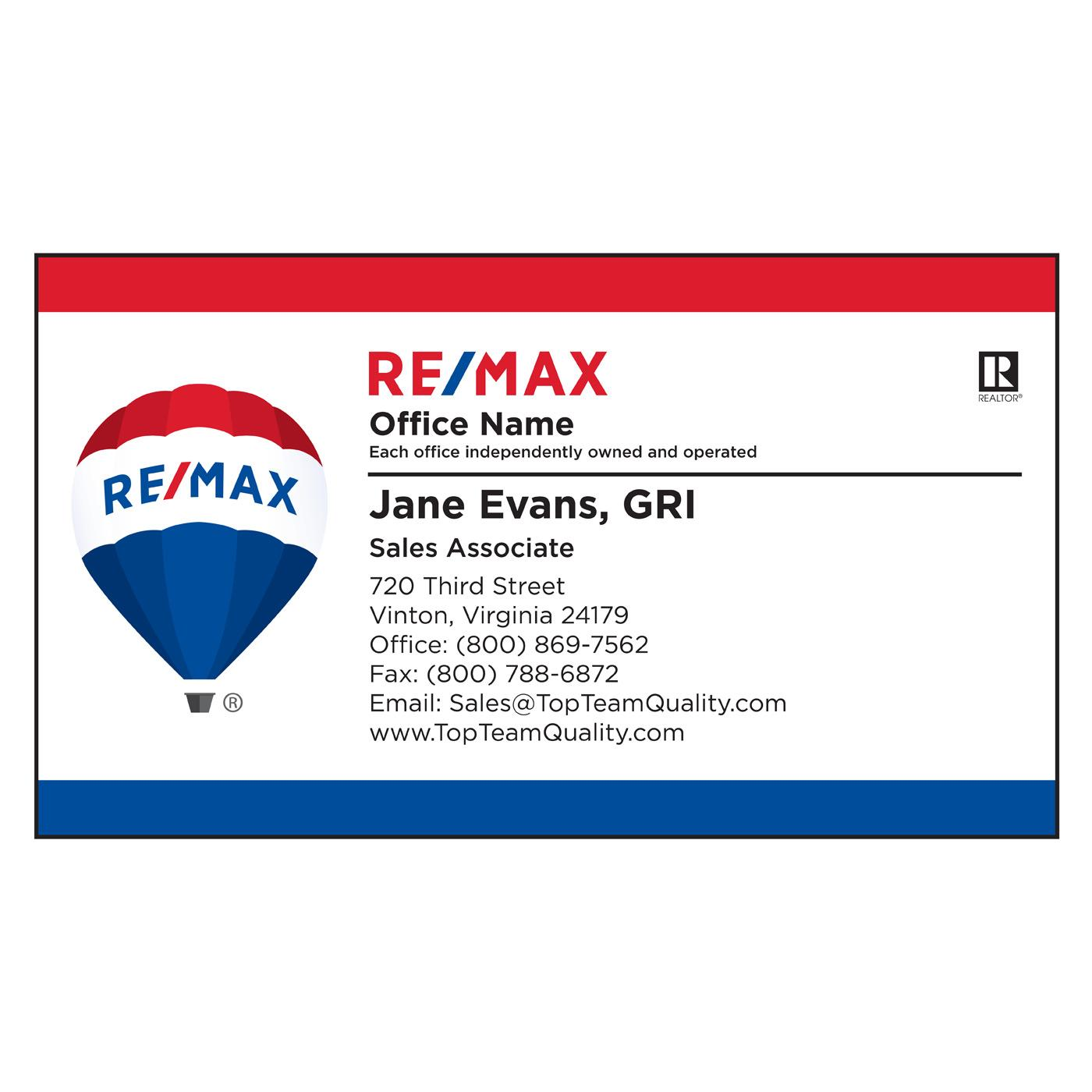RE/MAX Bars Standard Business Card