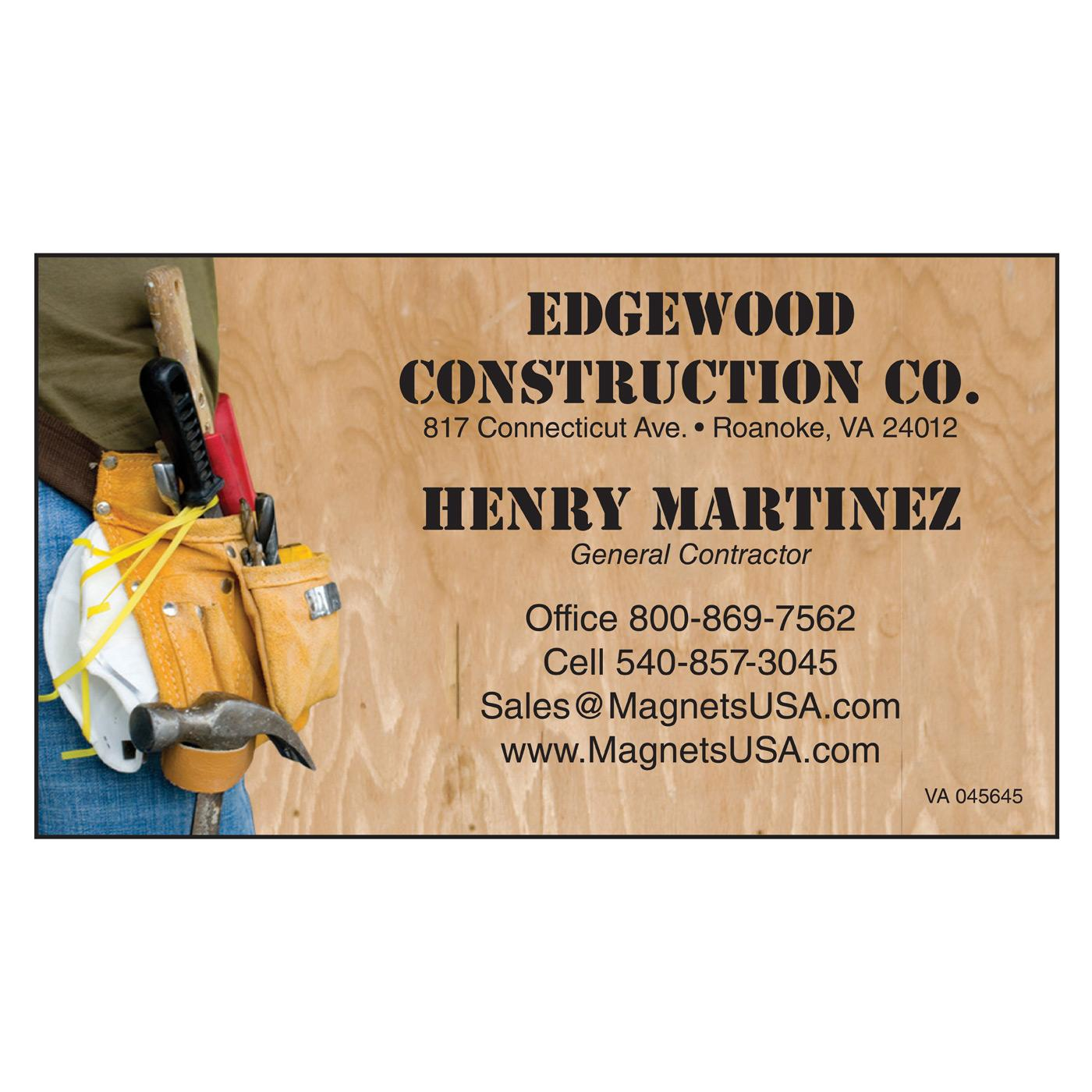business card for contractor