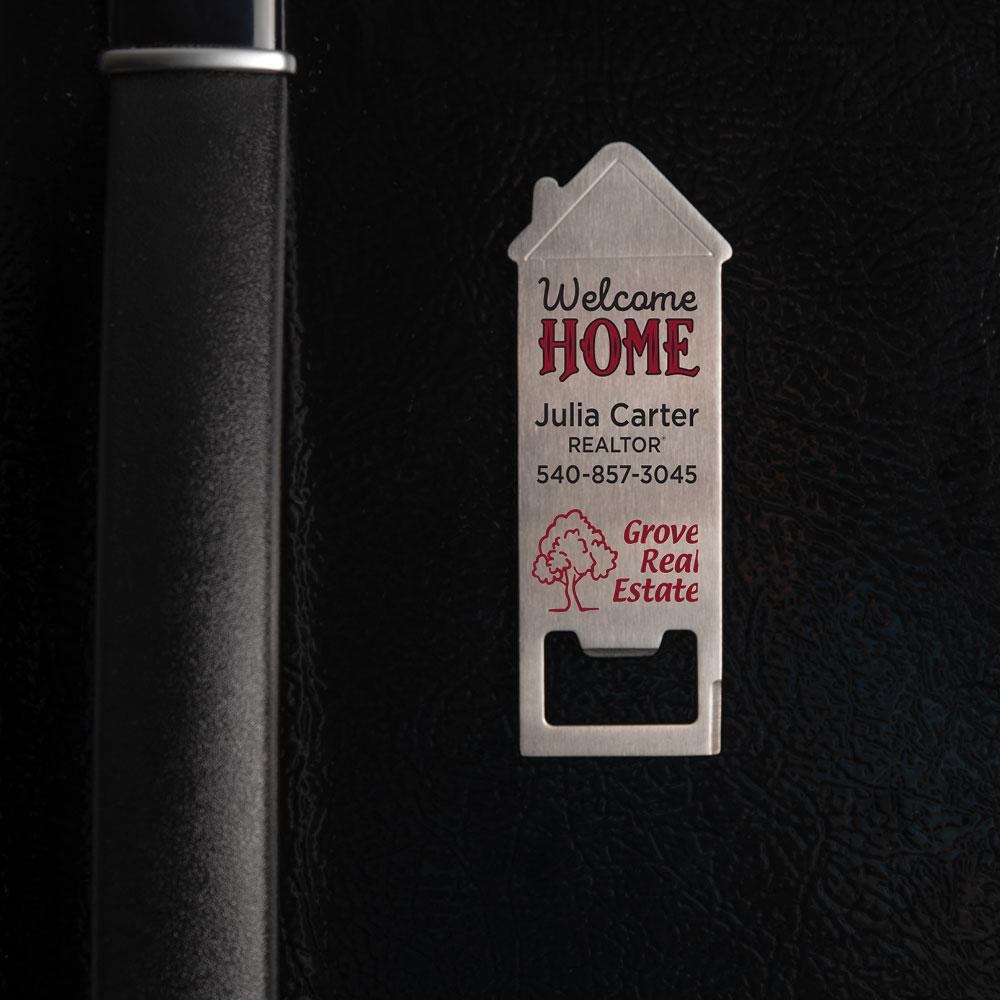 custom bottle opener fridge magnet
