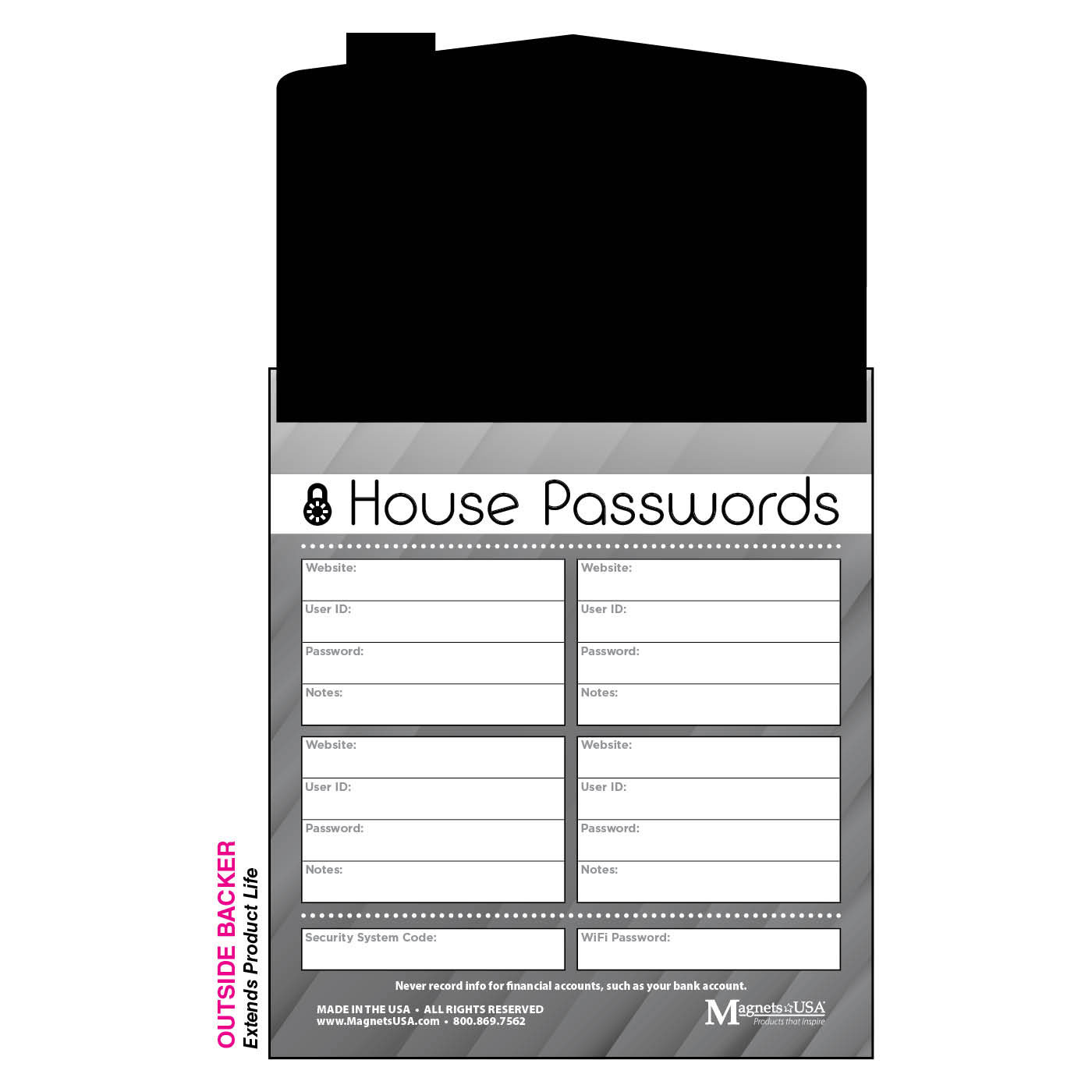 notepad with house-shaped magnet