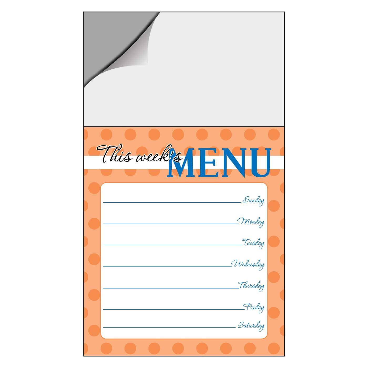 Weekly Menu Designer Notepad Magnet