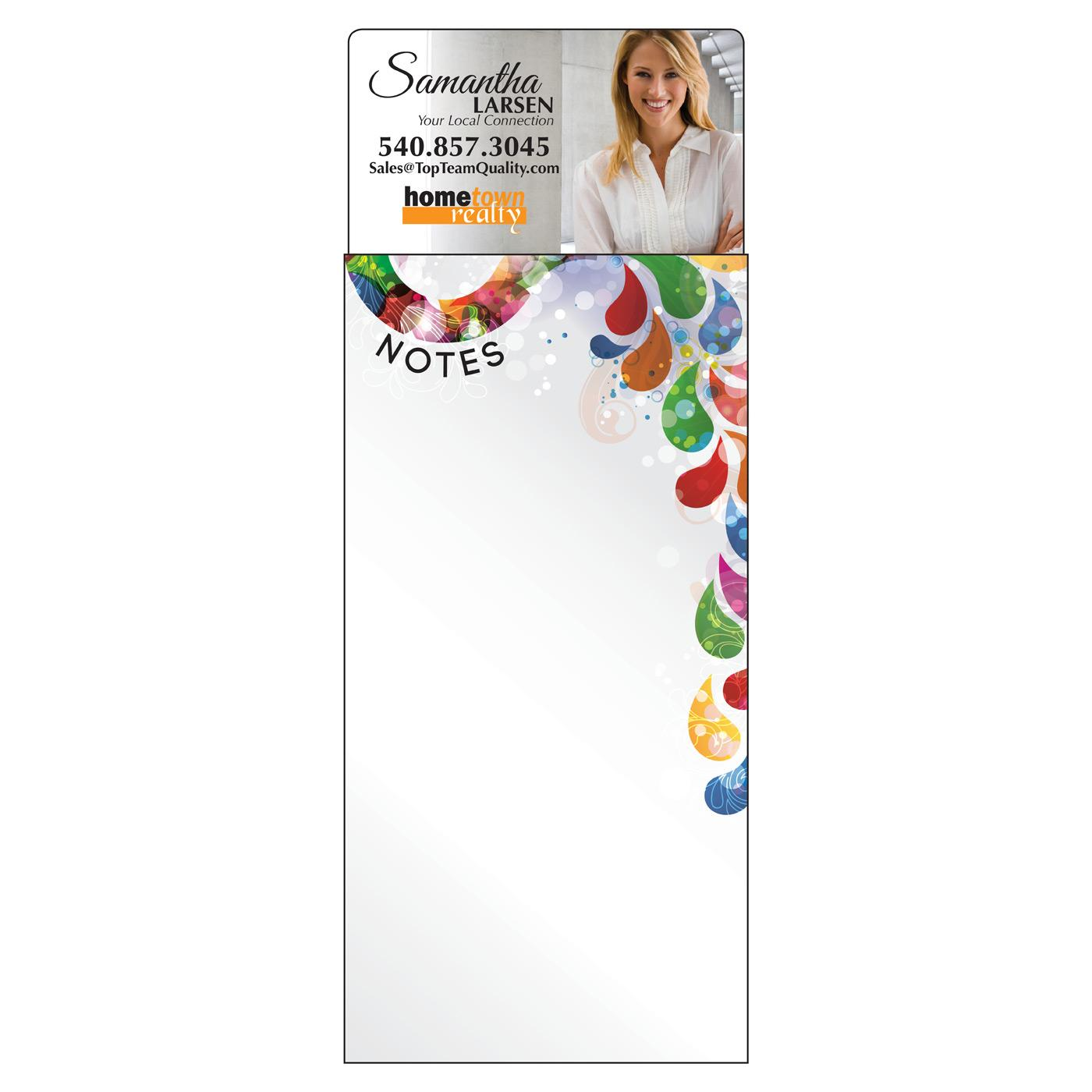 long notepad with branded magnet