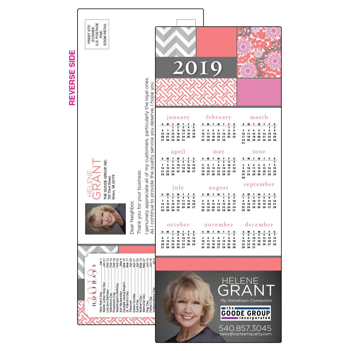 EDDM Calendar with Pink Patterns
