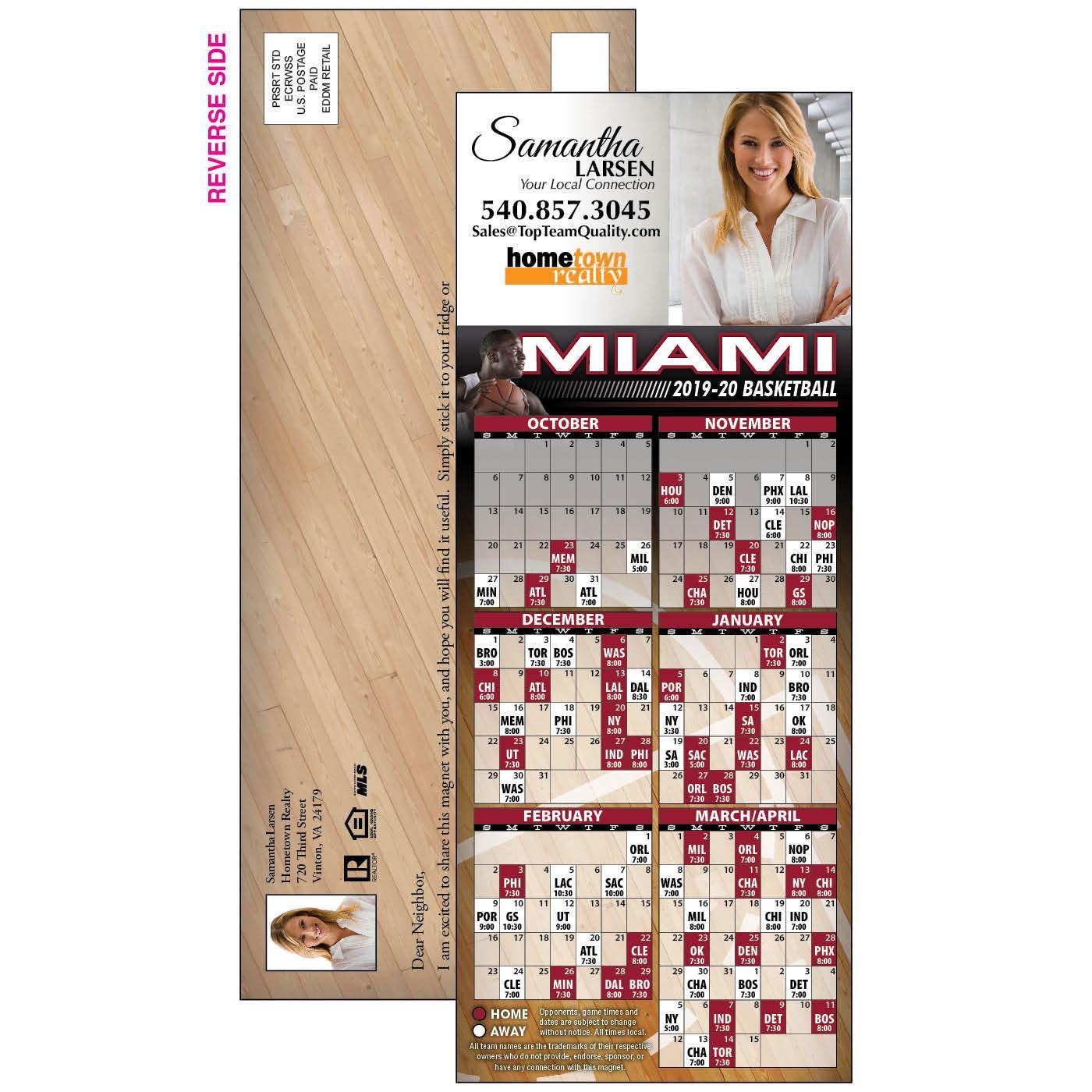 Card Stock EDDM Basketball Schedule