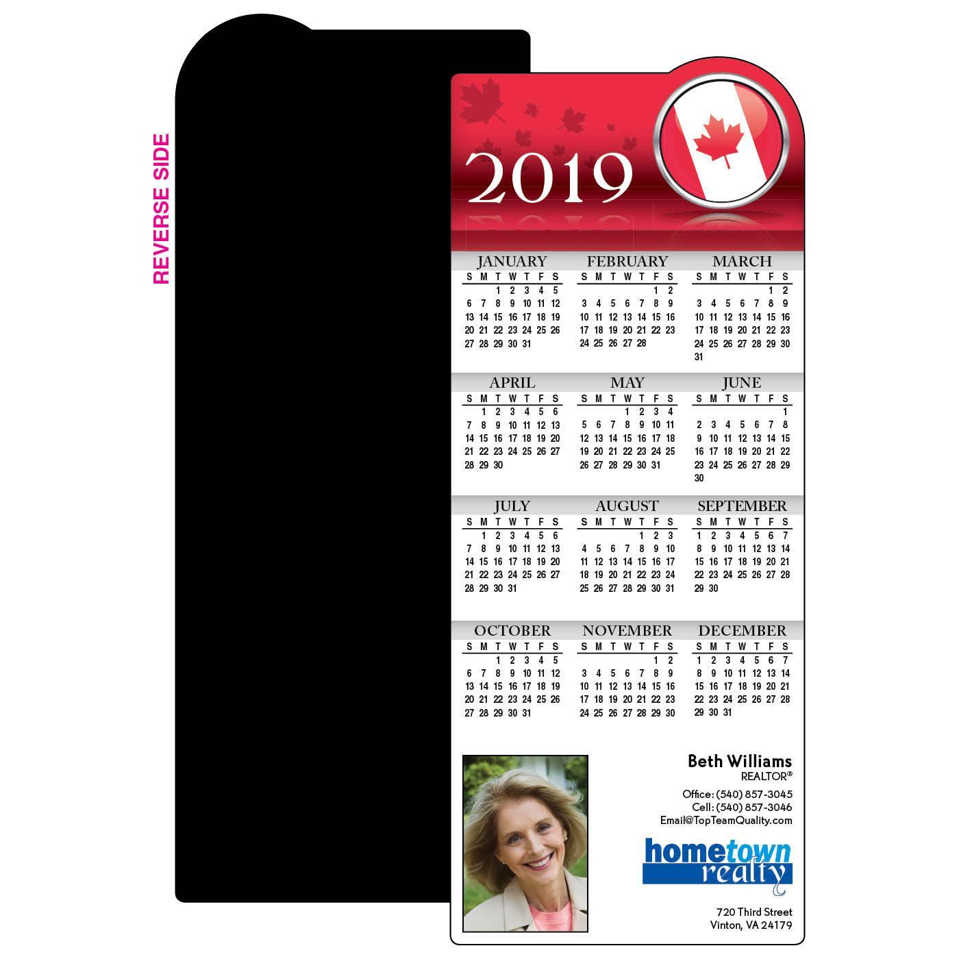 Calendar Magnet with Canadian Flag