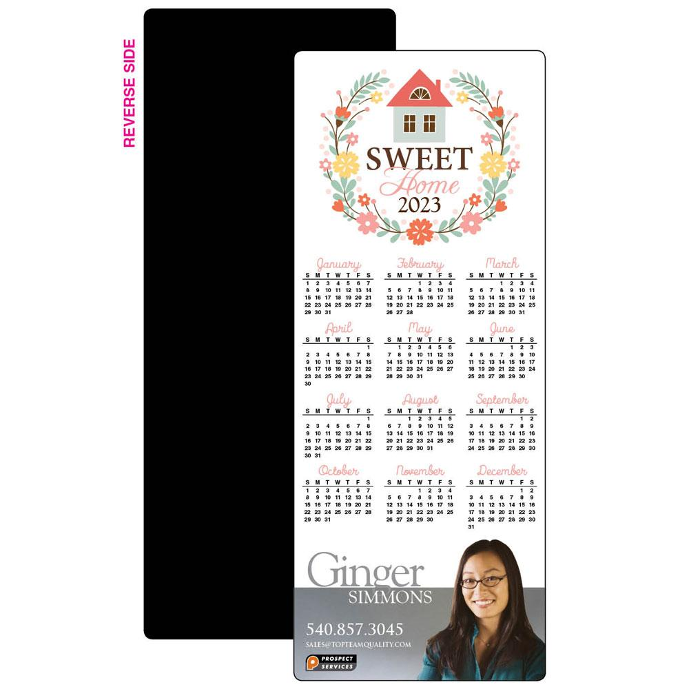 Calendar Magnet with Floral Graphic