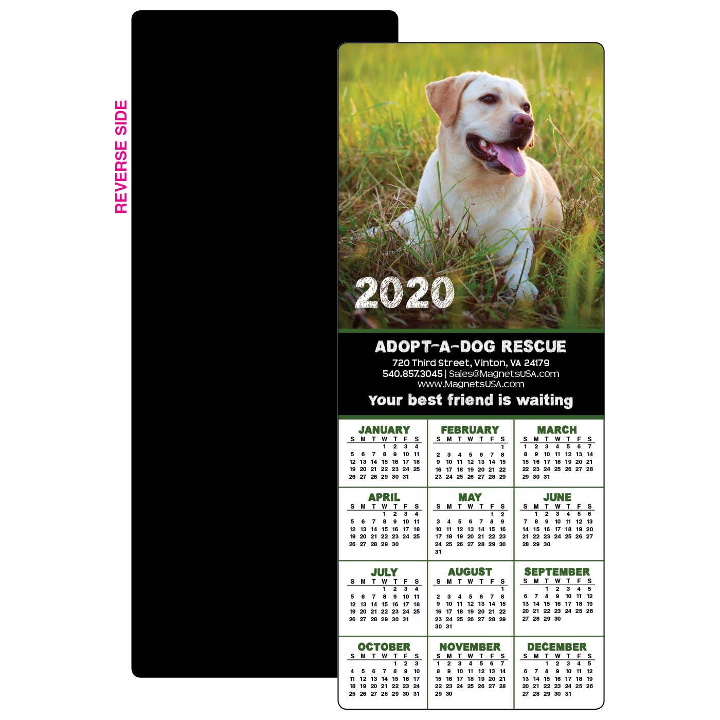 Calendar Magnet with Dog in Field