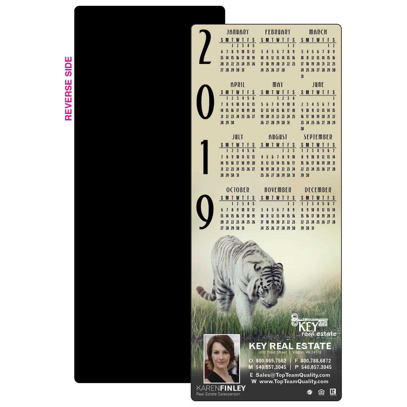 Calendar Magnet with White Tiger