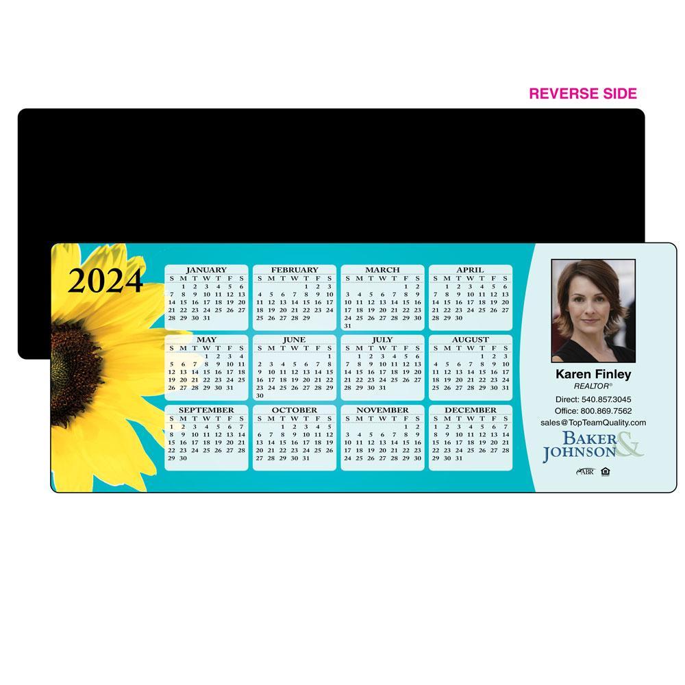 Calendar Magnet with Vibrant Flower