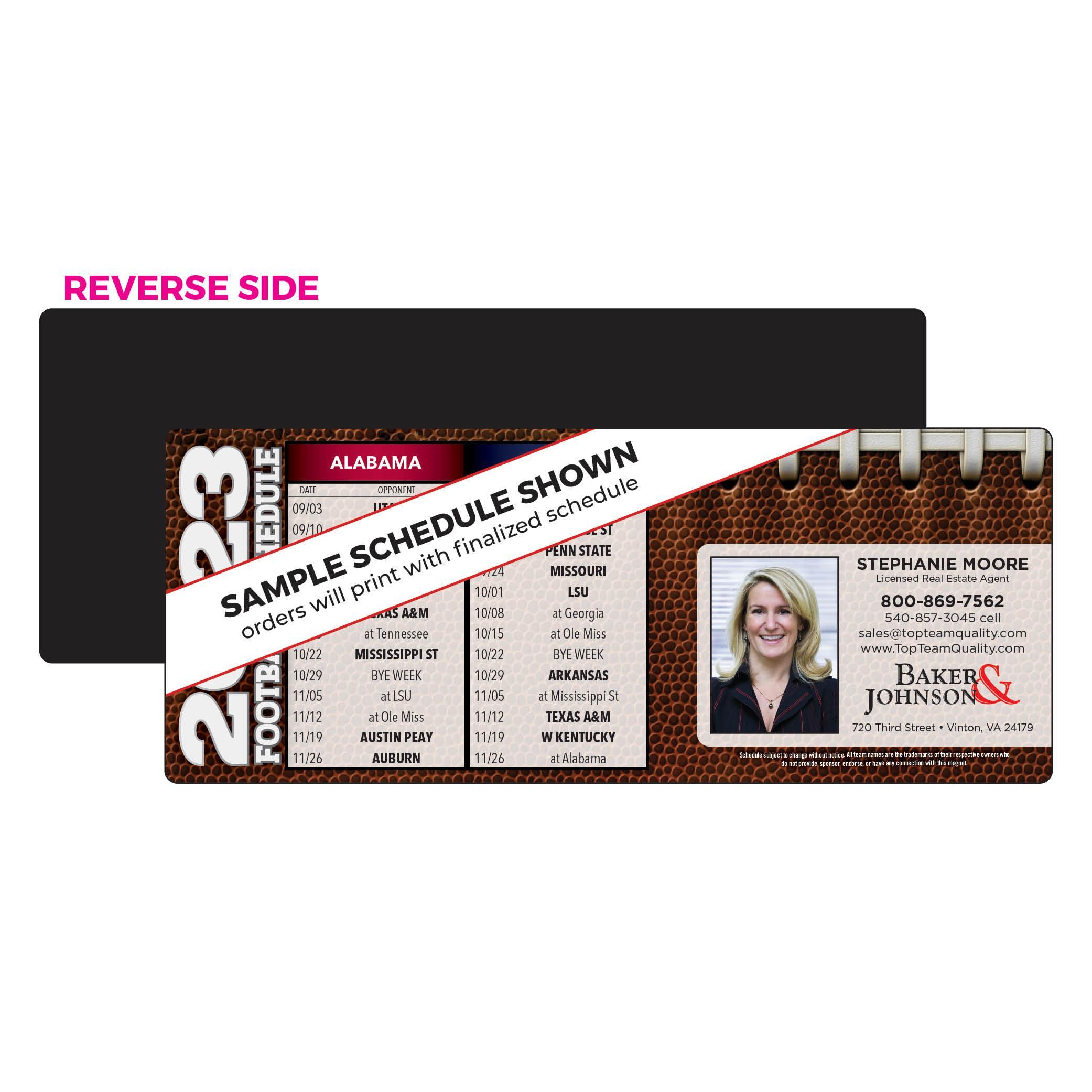 Horizontal Football Schedule Magnet