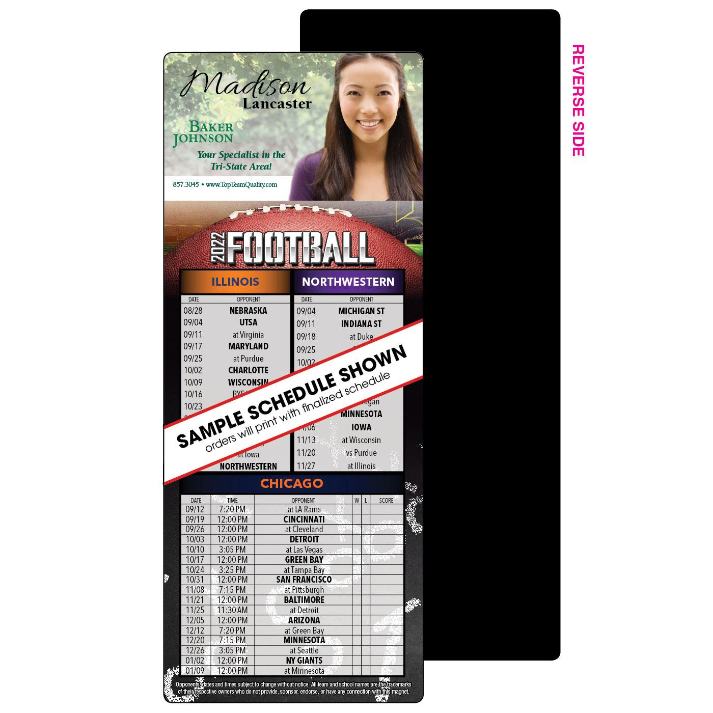 Die cut football schedule magnet