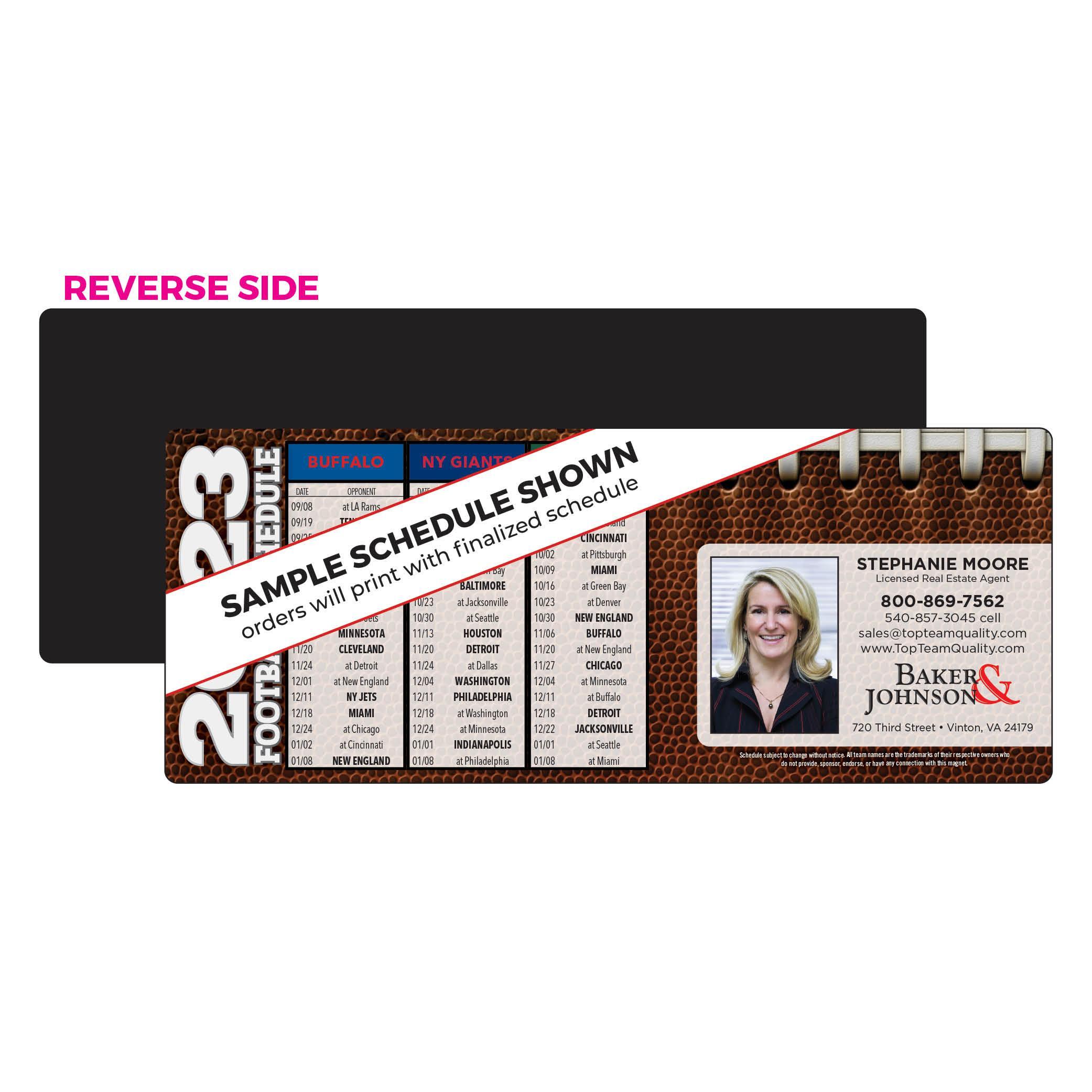 horizontal football schedule