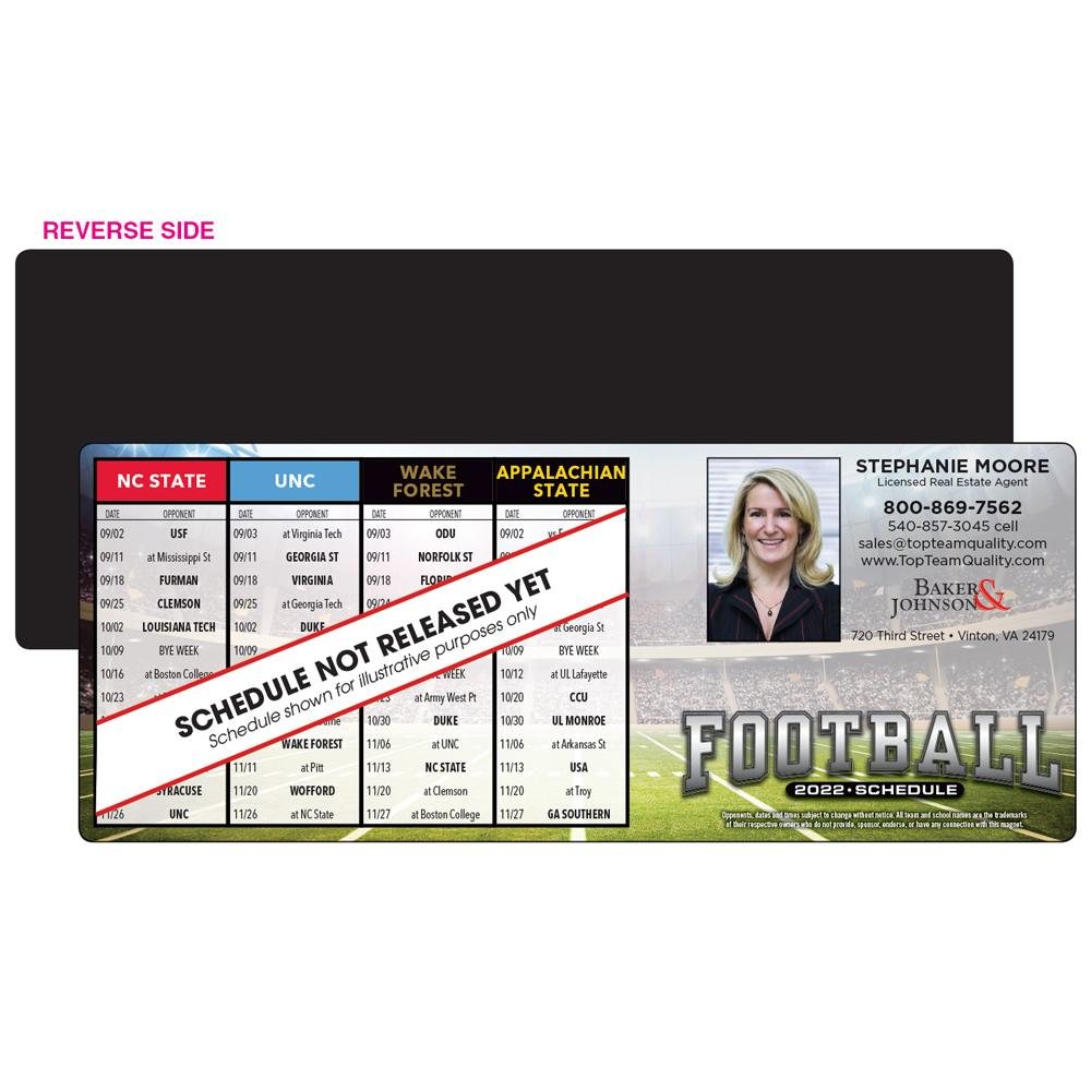 horizontal football schedule