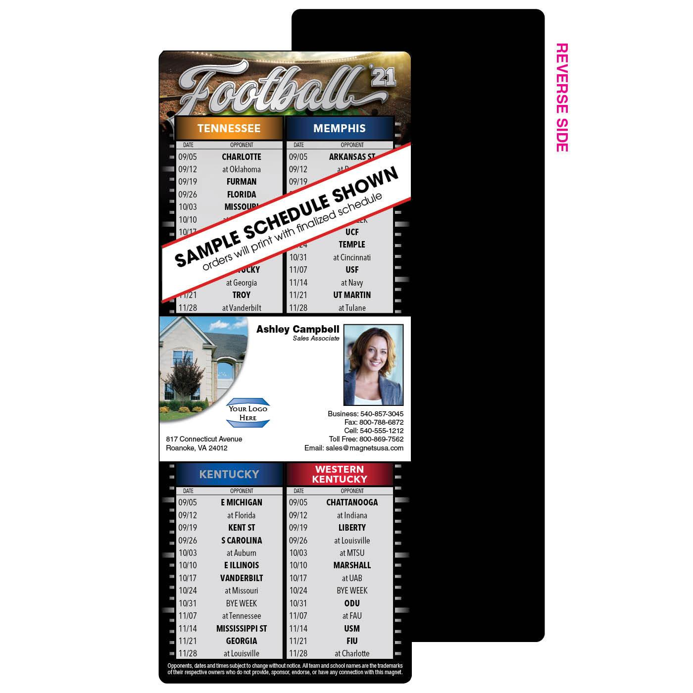 4 team football schedule magnet