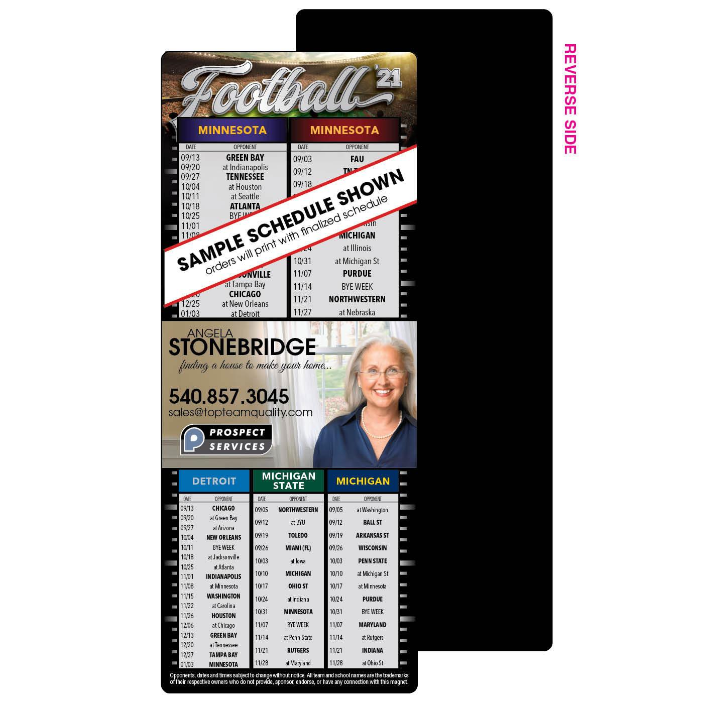 3 Team Football Schedule Magnet