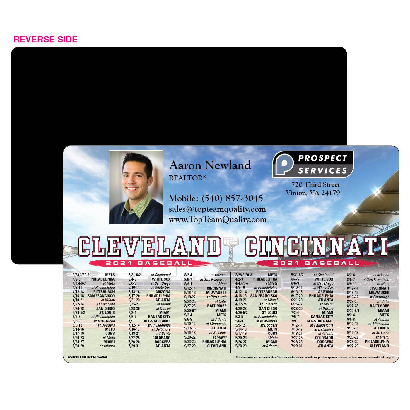 2-Team Baseball Schedule Magnet