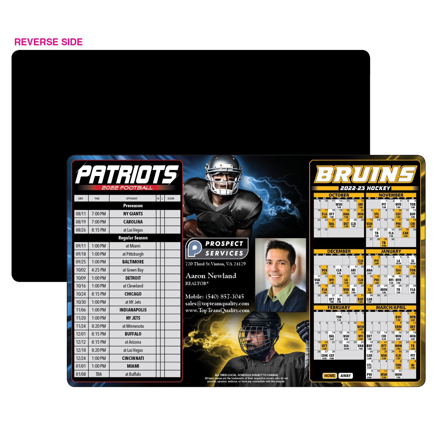 Patriots Bruins schedule magnet