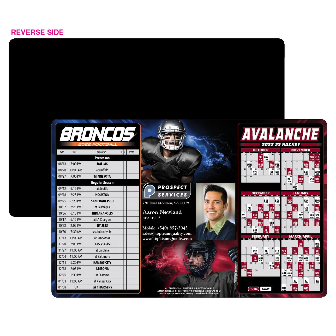 Broncos Avalanche sports schedule