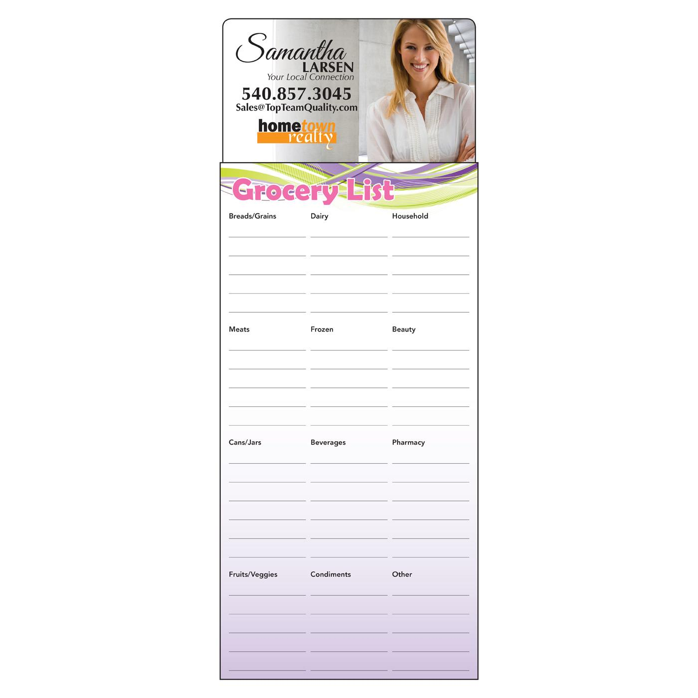 magnetic notepad with grocery list
