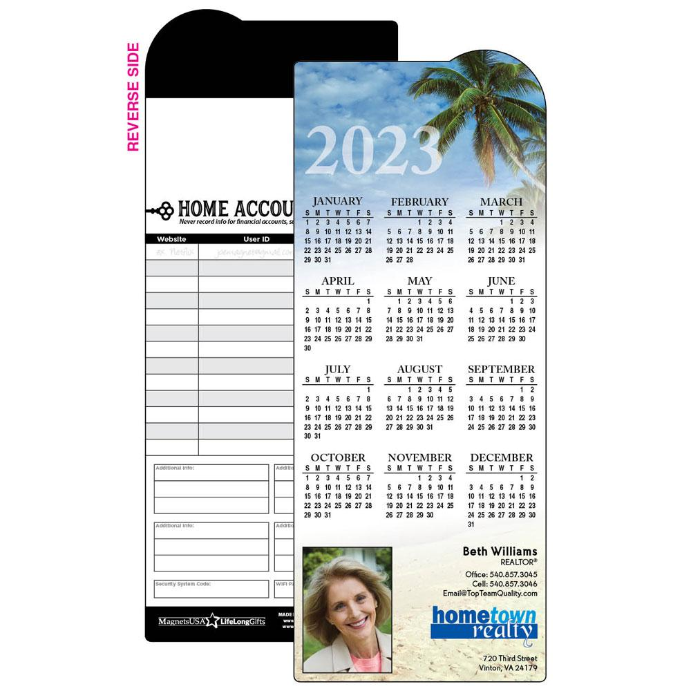 Calendar Magnet with Palm Trees