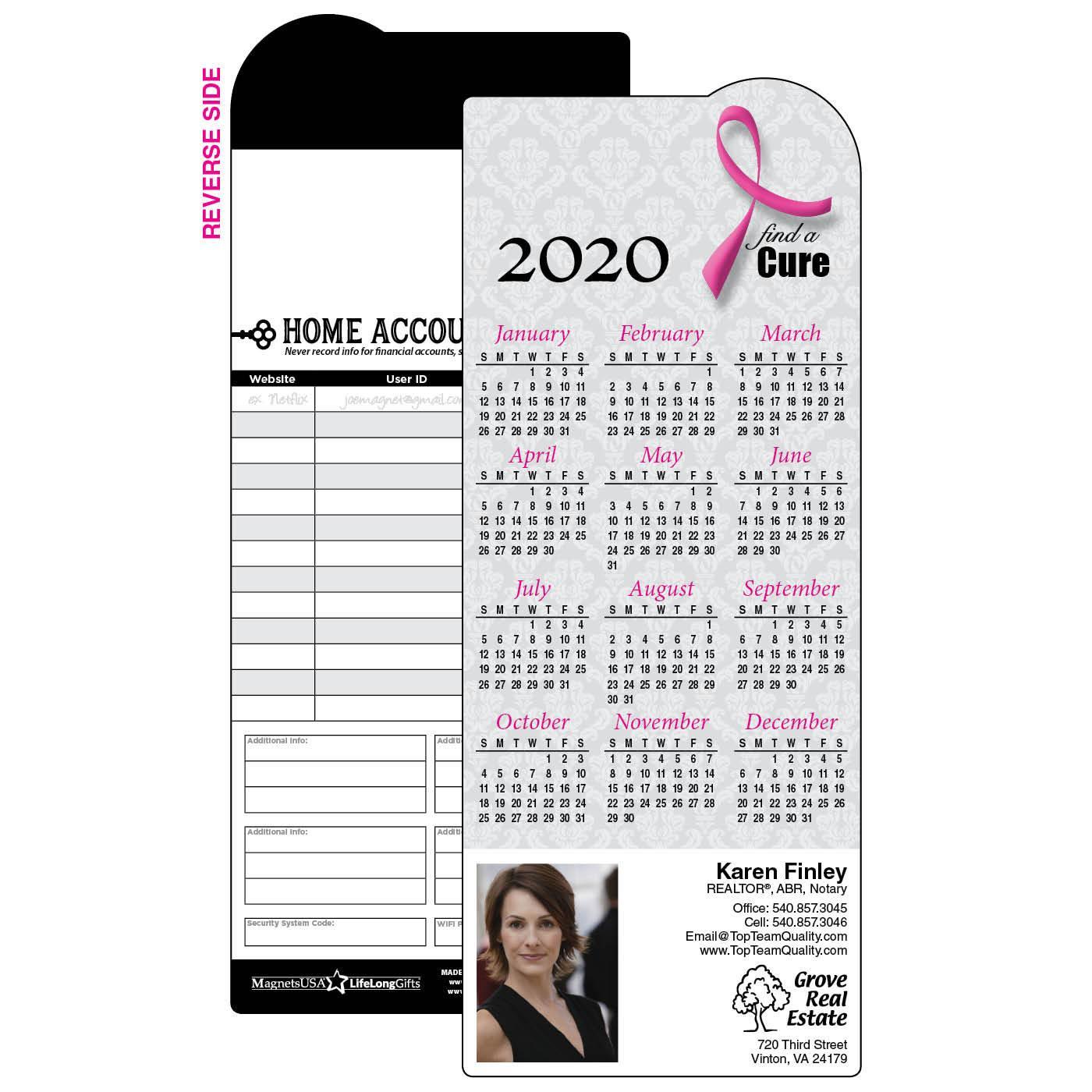 Breast Cancer Calendar Magnet