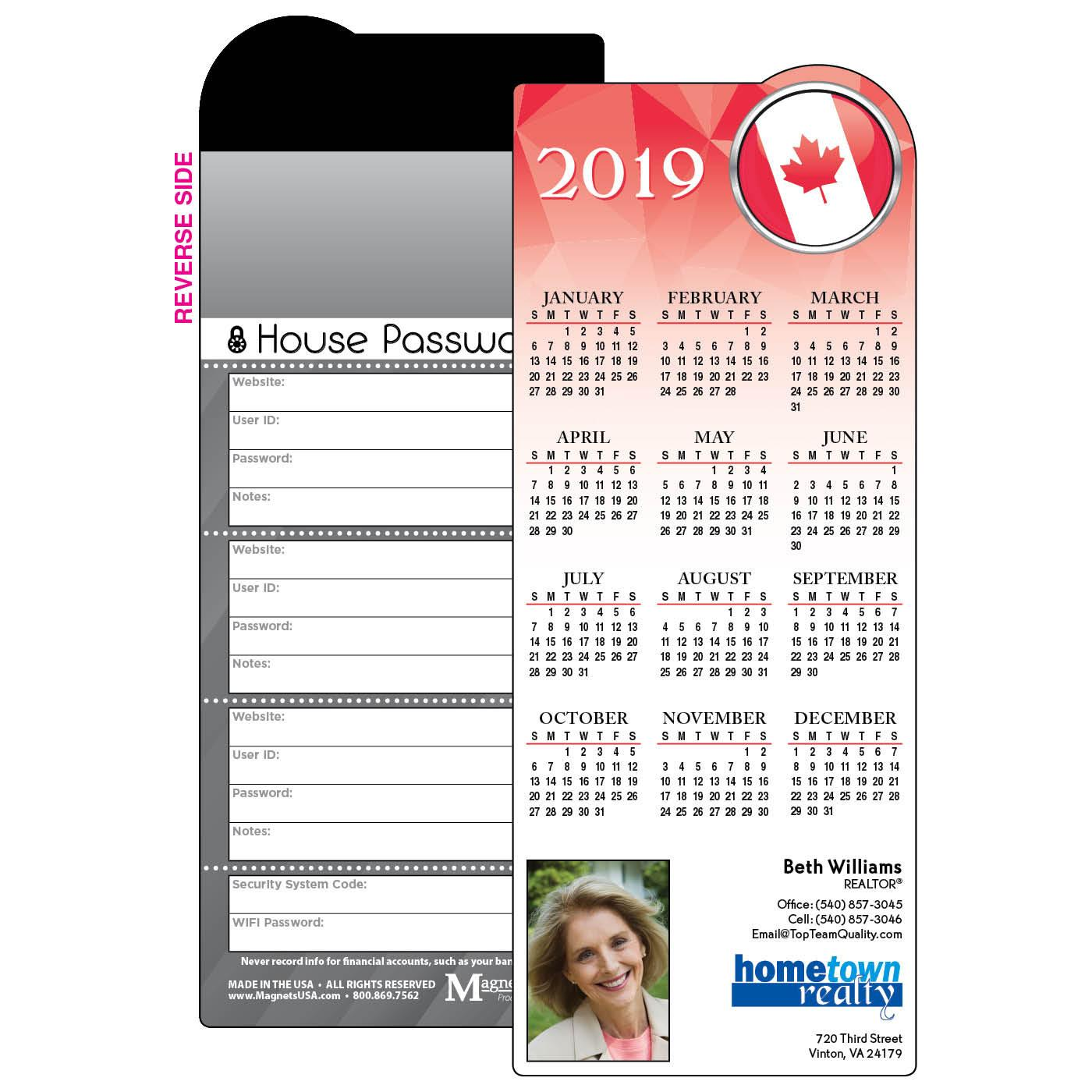 Calendar Magnet International Flag