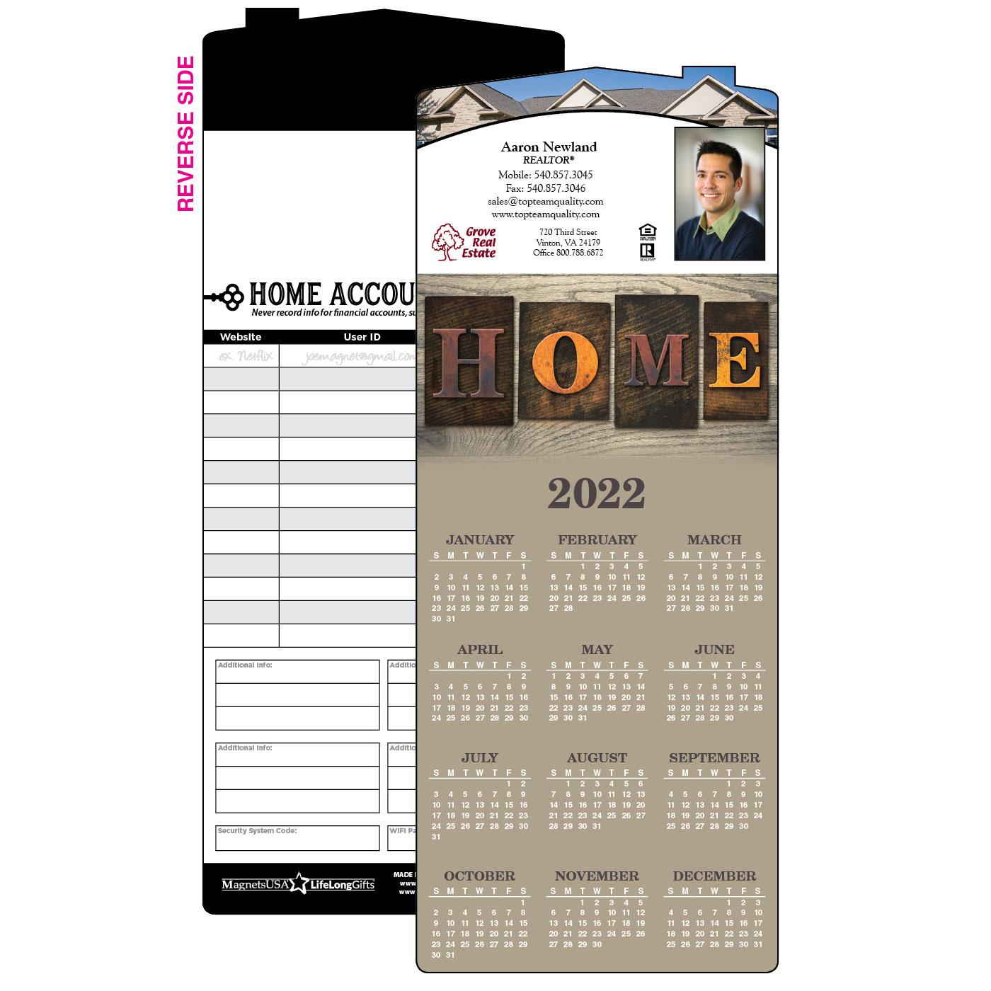 Calendar Magnet with Home Message