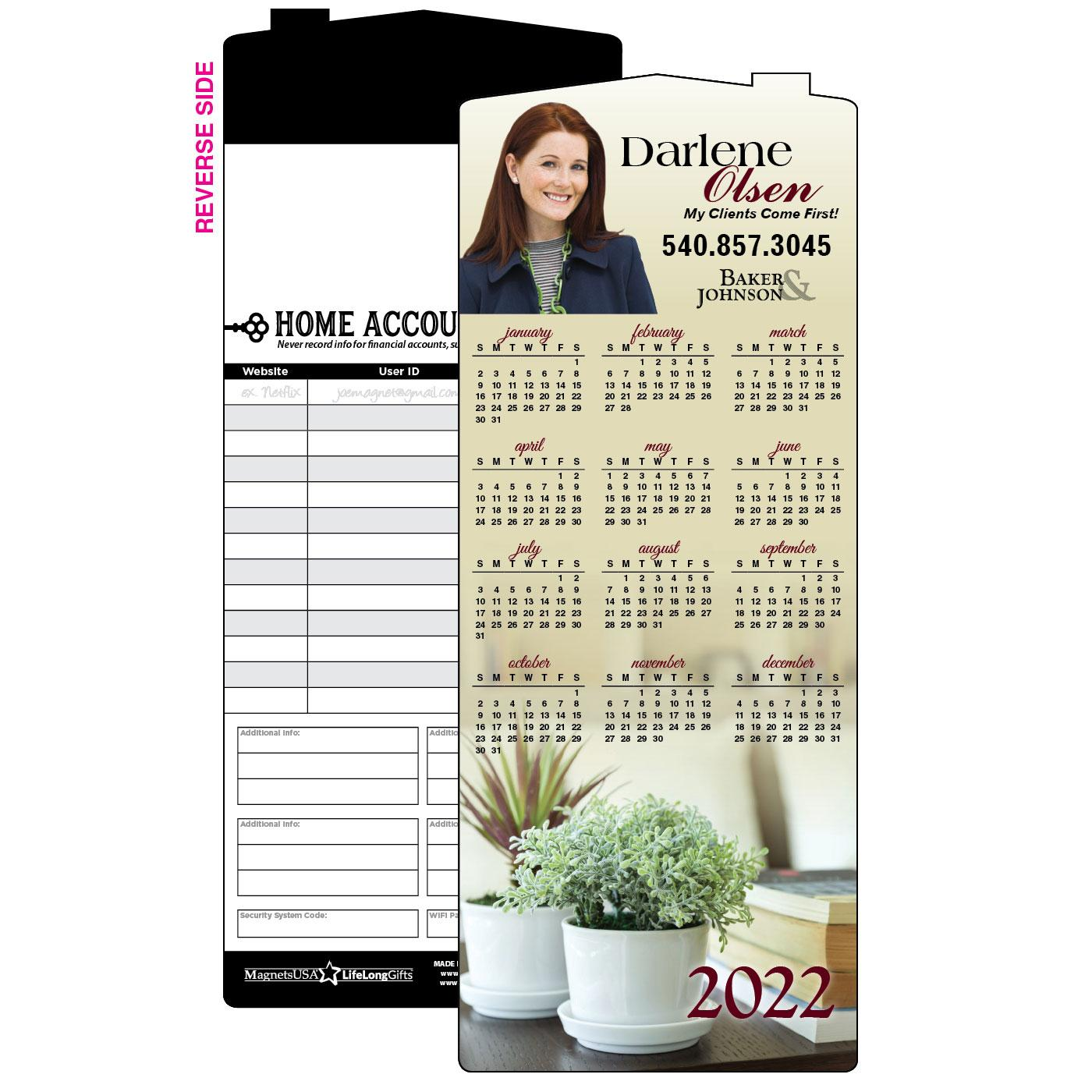 Calendar Magnet with House Plant
