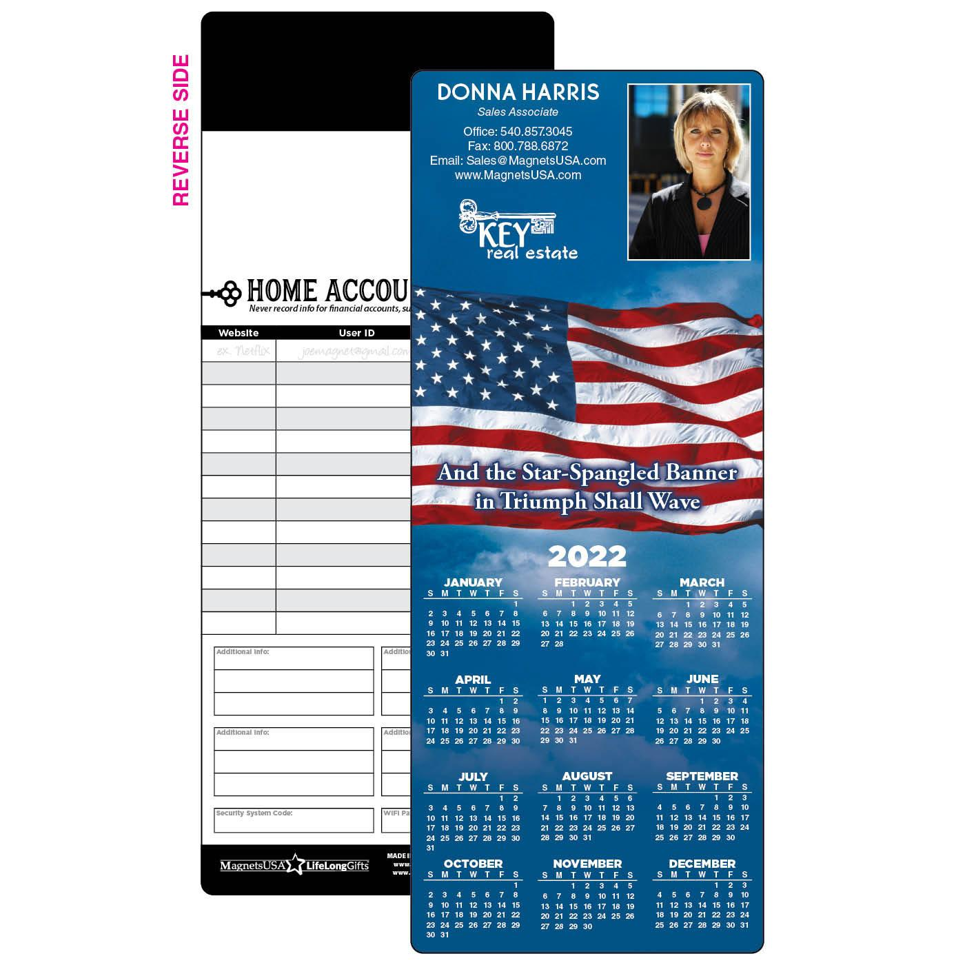Calendar Magnet with American Flag