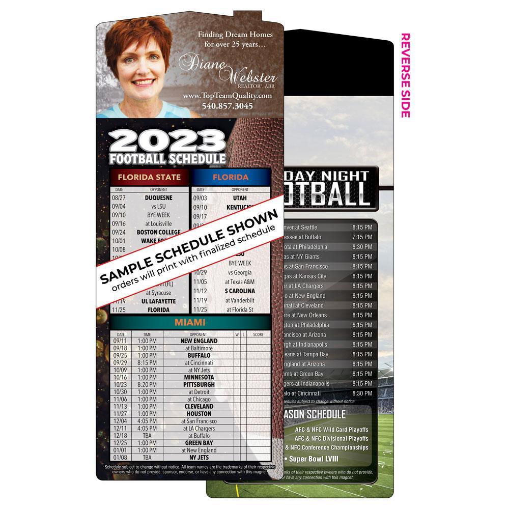 die-cut football schedule magnet