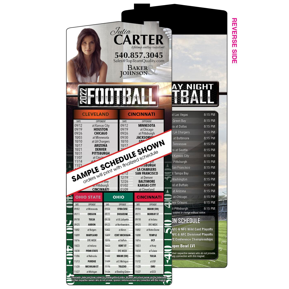 5 Team Football Schedule Magnet