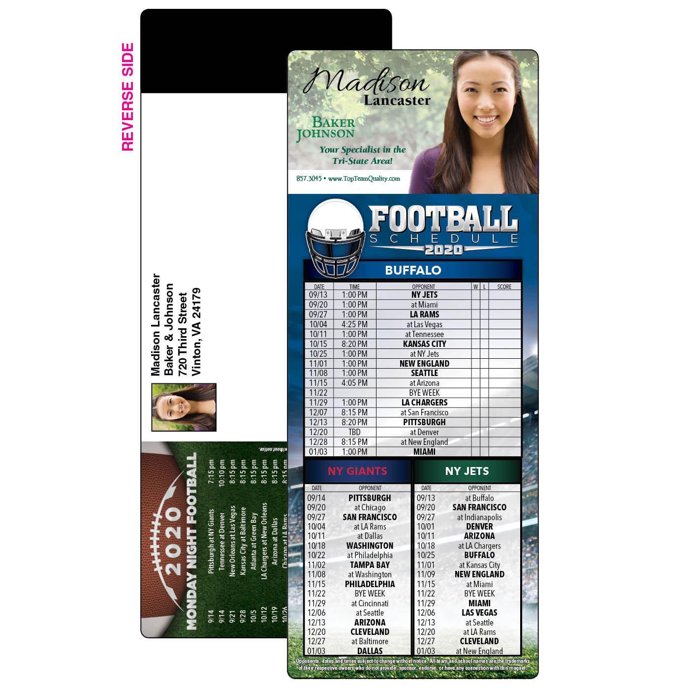 Football Schedule Self-Mailer