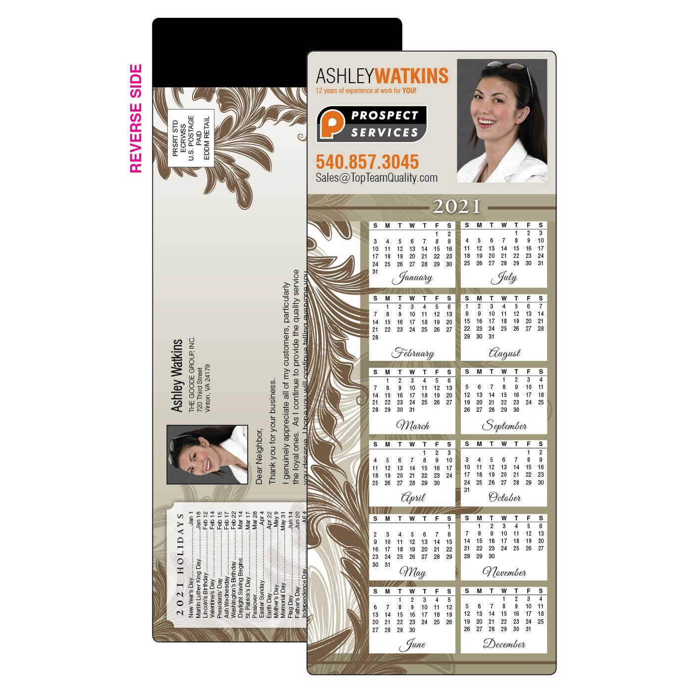 EDDM Calendar Magnet Ornate Leaves