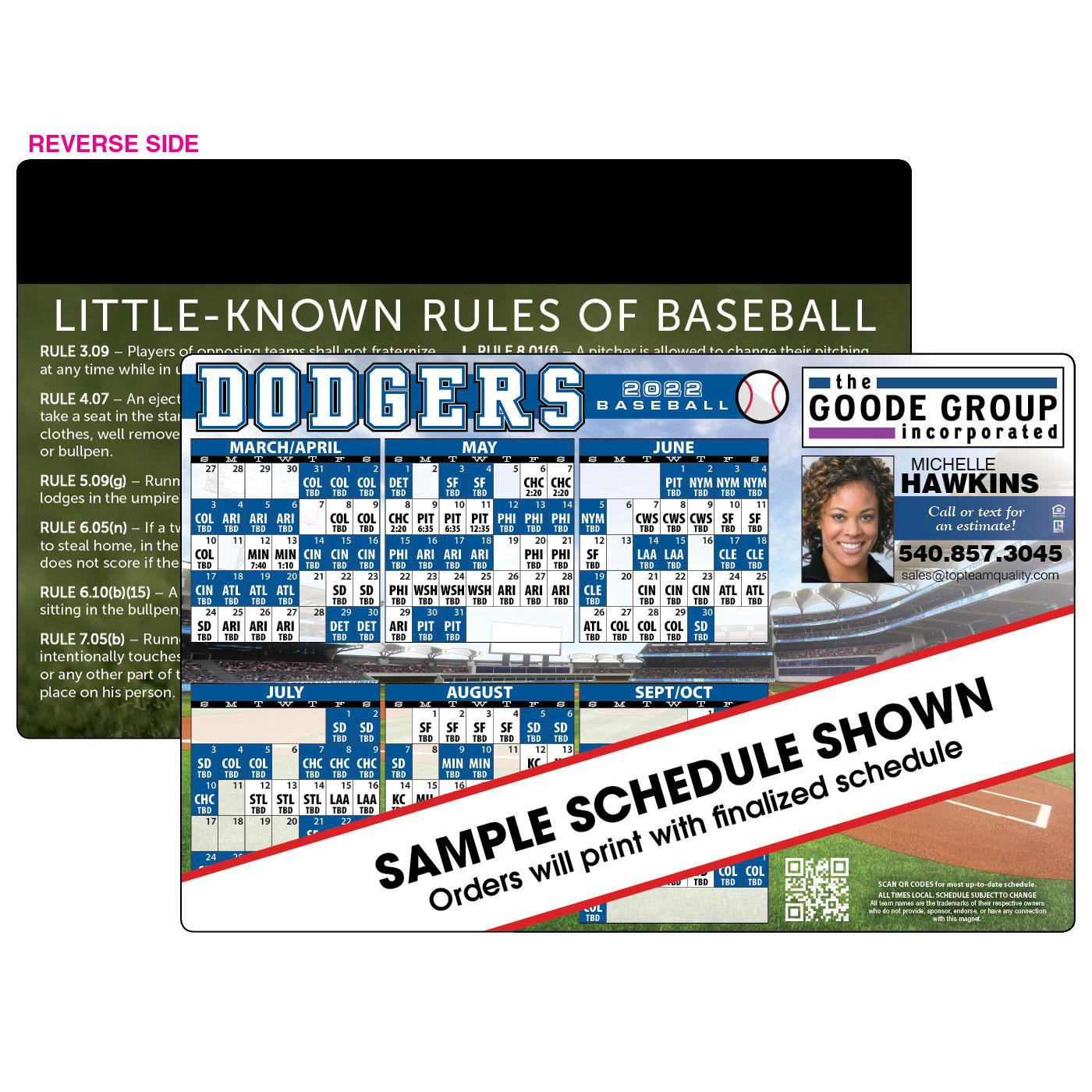 Jumbo 1-Team Baseball Magnet