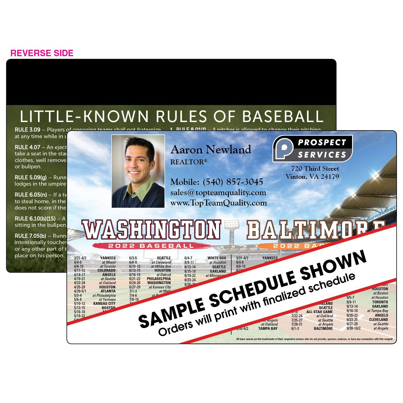 Jumbo No-Flip Baseball Schedule