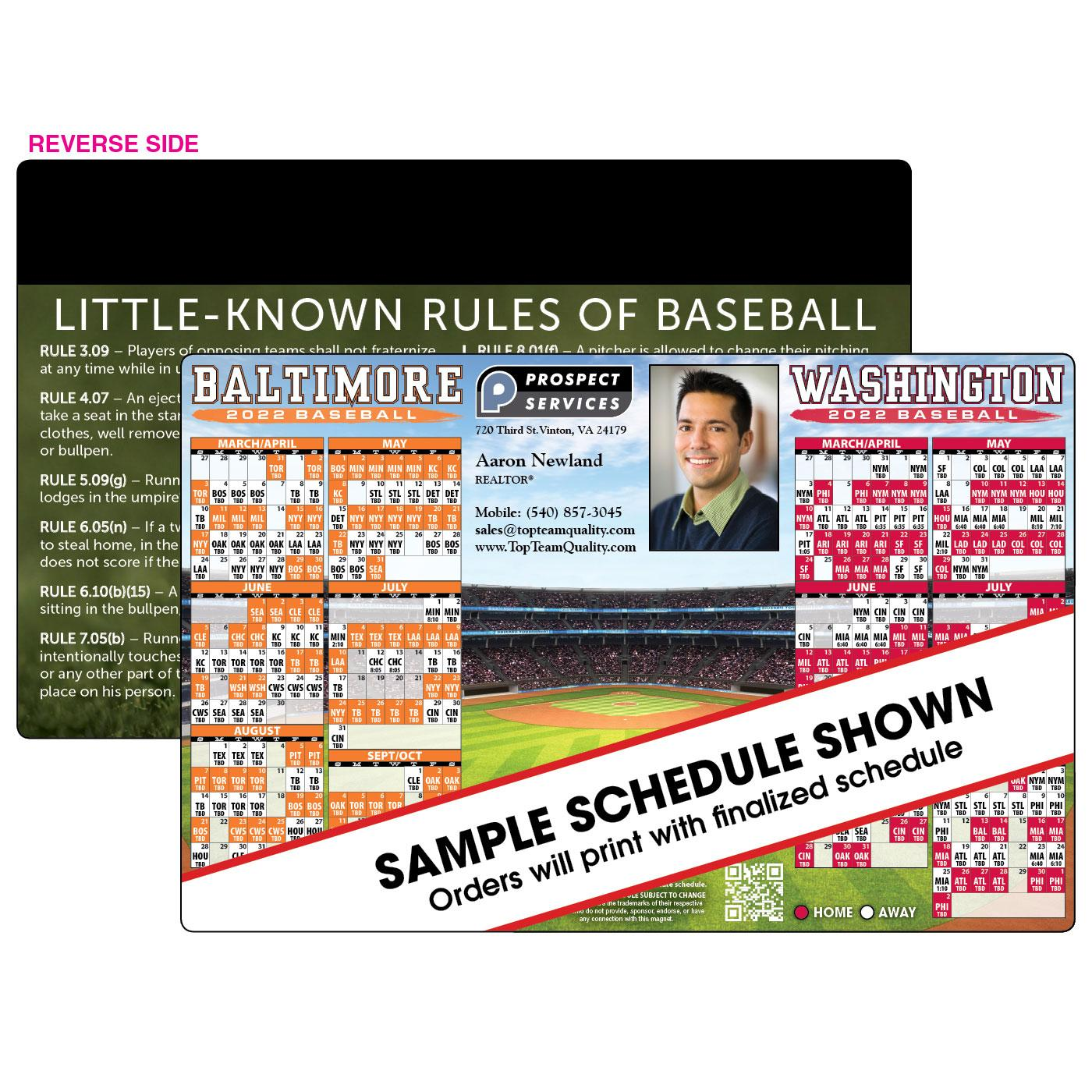 Jumbo Magnetic Baseball Schedule