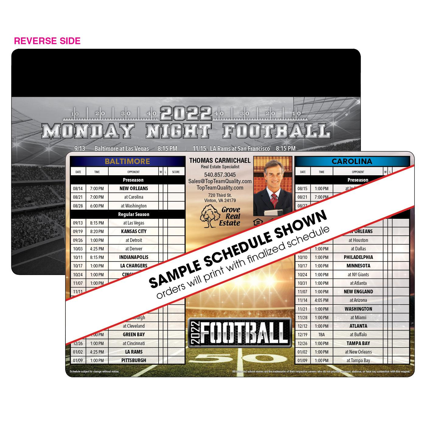 Football Schedule with Magnet Strip