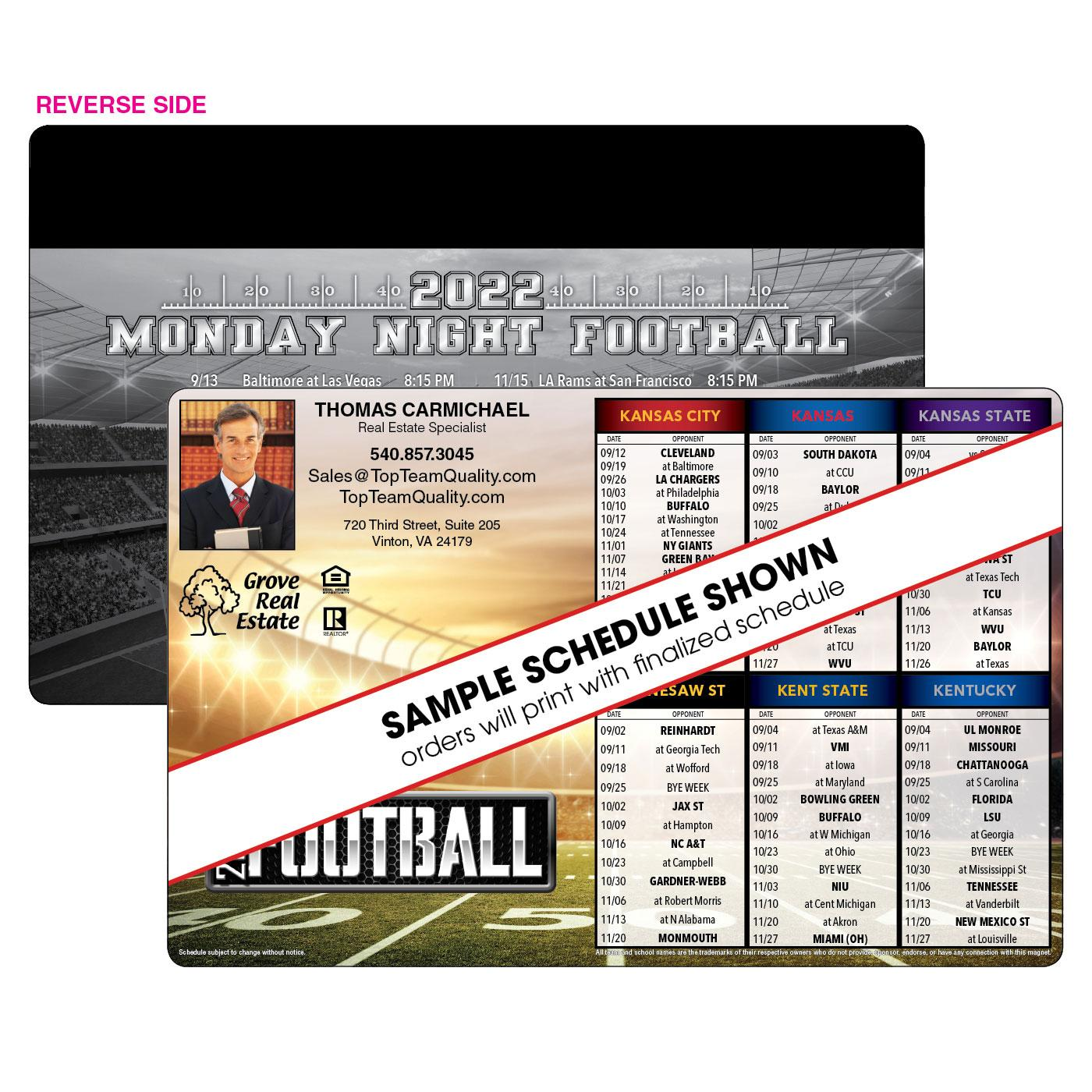 6-Team Magnetic Football Schedule