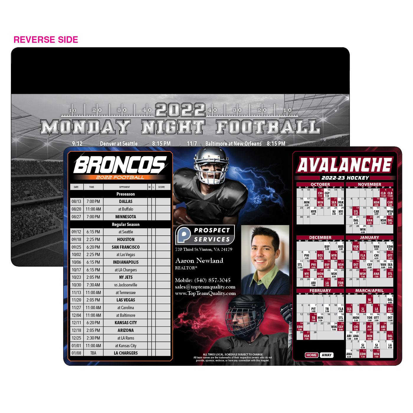 Broncos Avalanche Schedule Magnet