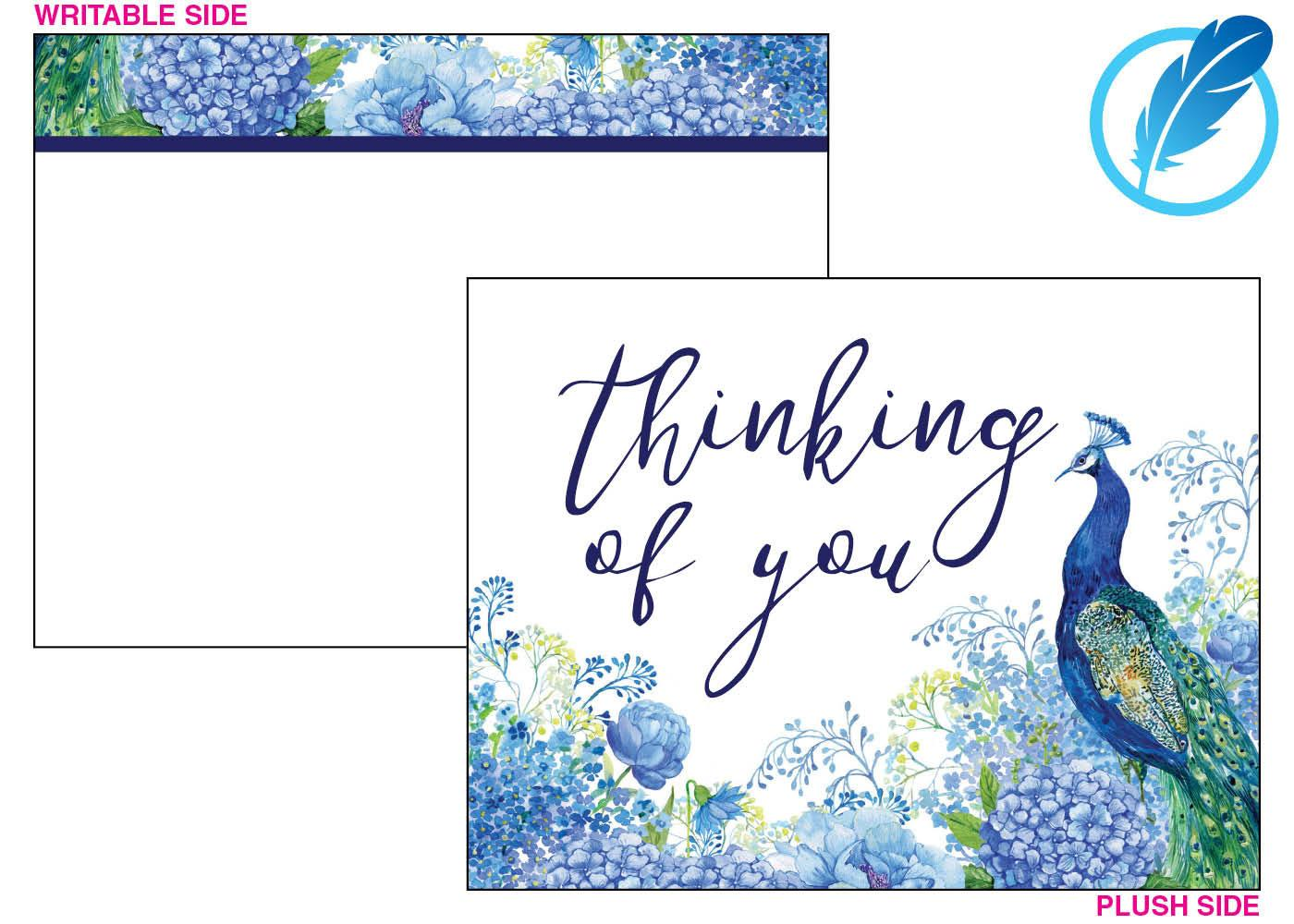 Peacock blues thinking of you card