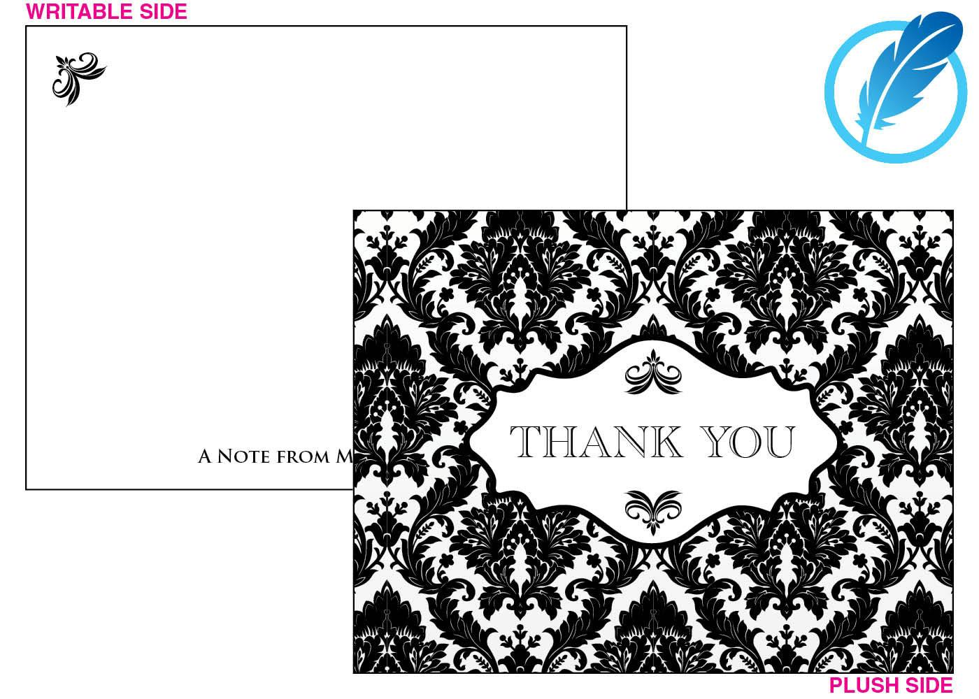 Damask pattern thank you card