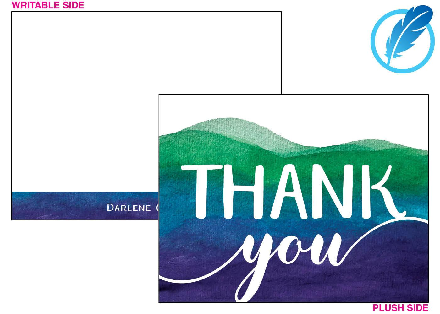 Water color ombre thank you card