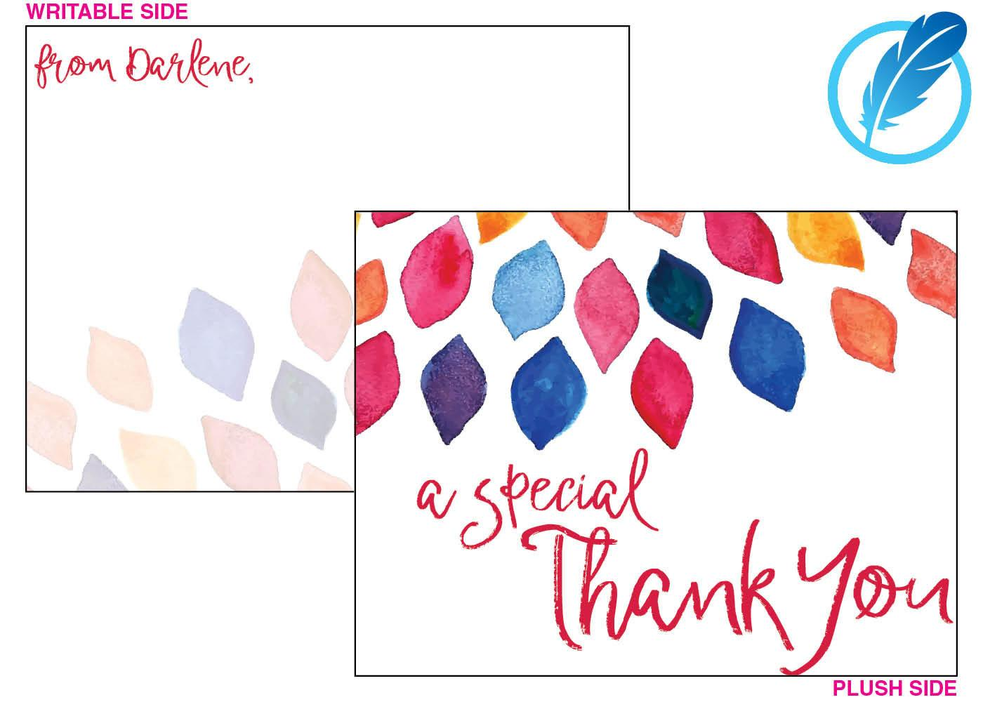 A special thank you note card