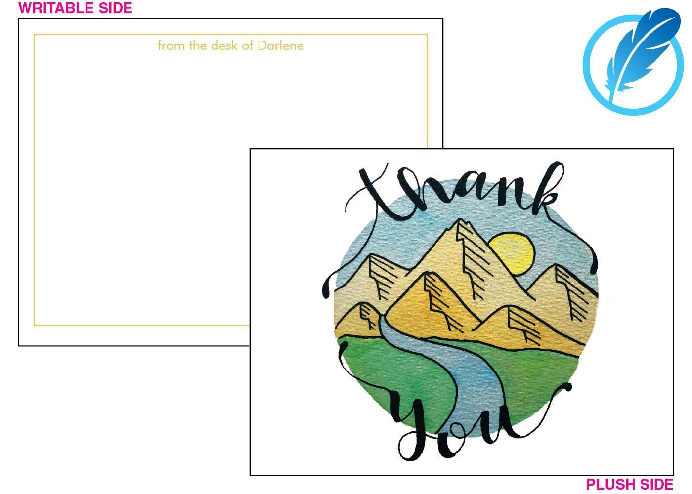 Mountains thank you card