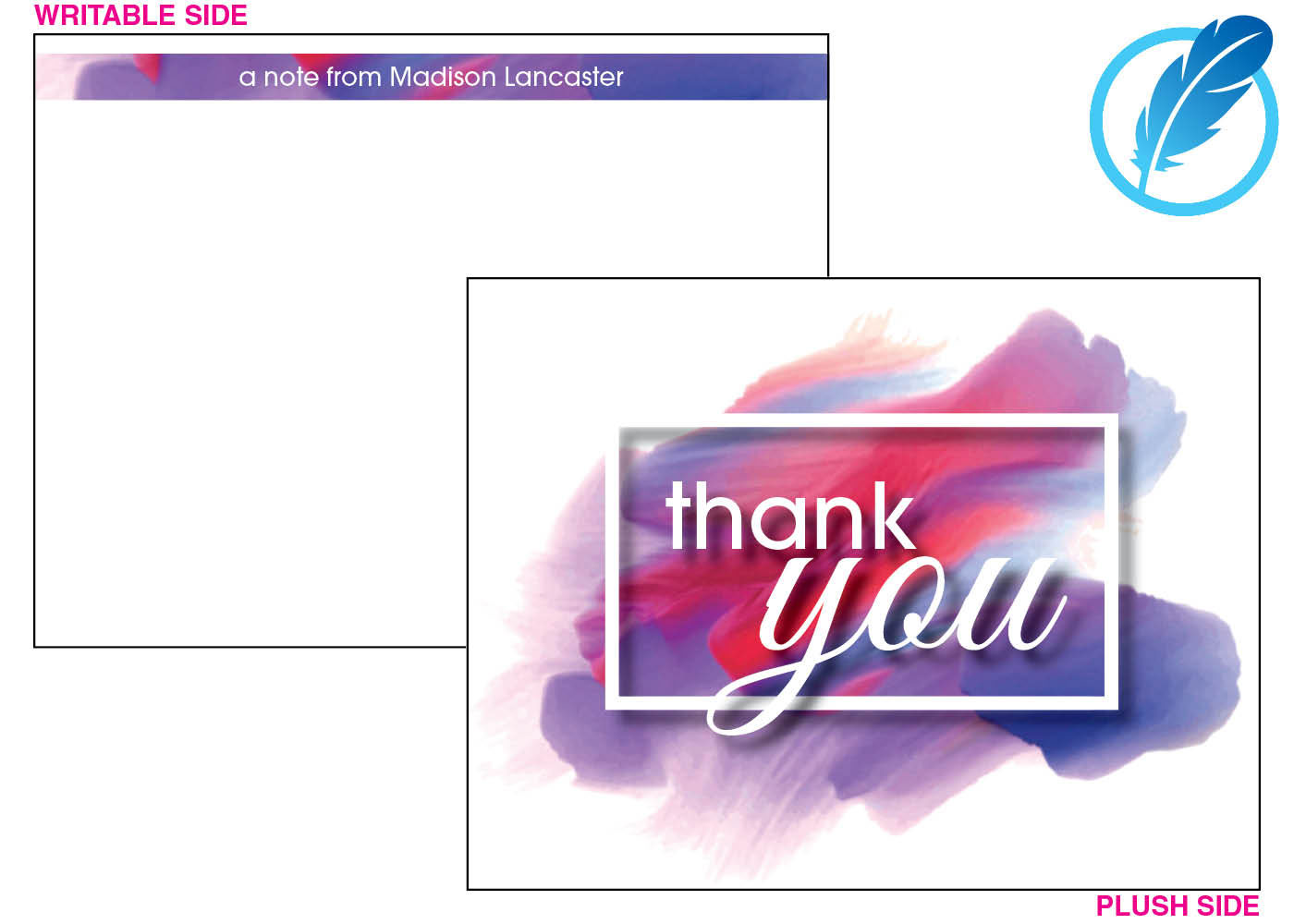Purple paint thank you notecard